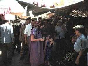 Jan and Miriam at the Kashgar Market