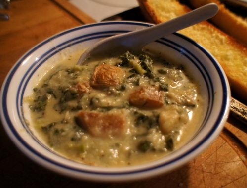 Karl's Celeriac Potato Soup with Kale