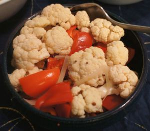 Karl's Hot Pickled Cauliflower and Red Peppers