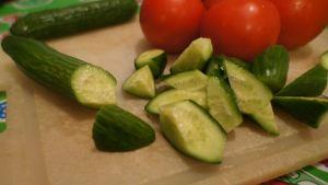 Roll cut cucumbers