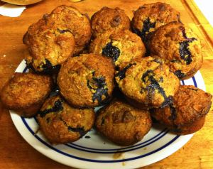 Karl's Banana Oat Muffins with Pecans and Blueberries