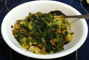 Karl's Jamaican Steamed Callaloo and Cabbage