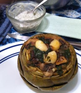 Karl's Roasted Artichokes Stuffed with Spinach and Mushrooms