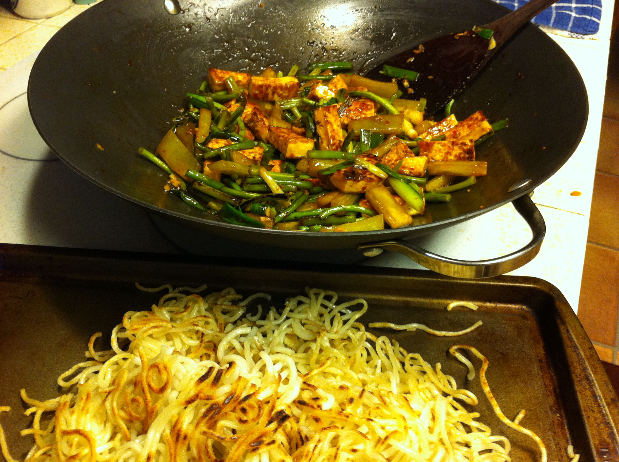 karlu0027s tofu garlic stem and lettuce stem stirfry with pan fried noodles - Stir Fry Pan