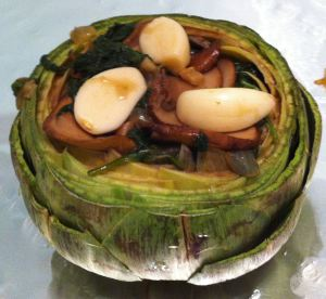 tuffed artichoke before wrapping