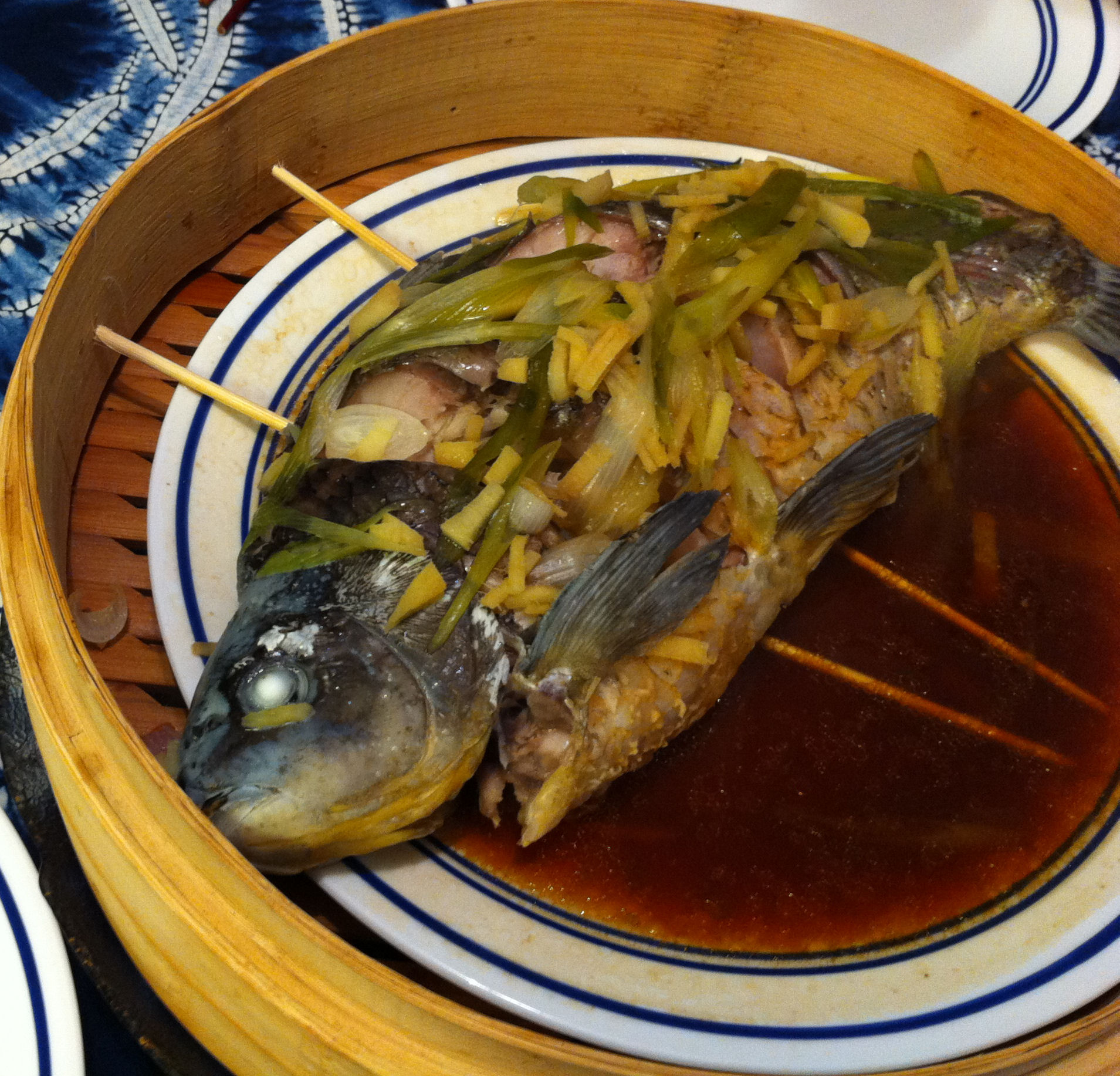 Karl s chinese whole steamed fish jabberwocky stew for Steamed whole fish