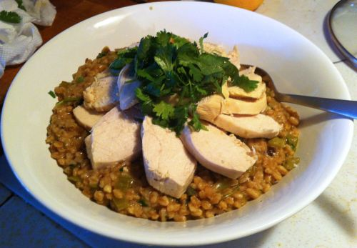 Karl's Poached Chicken with Cilantro and Lime Farro