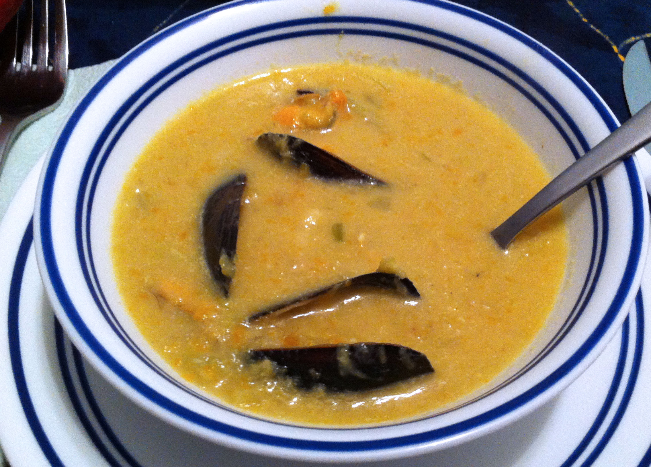 with saffron creamy mussel soup mussel and saffron soup mussel soup ...