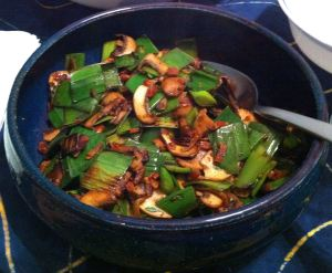 Karl's Sautéed Leek Greens with Mushrooms