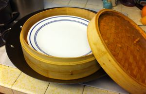 Wok, Covered Steamer and Plate