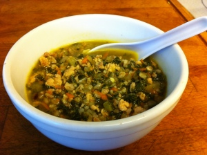 Karl's Chicken, Kale and Farro Soup