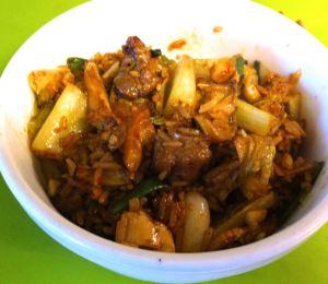 Karl's Lamb, Oyster Mushroom, and Romaine Stir-fry