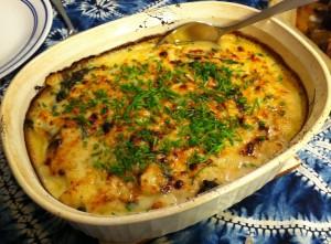 Karl's Cauliflower and Spinach with Garlic au Gratin