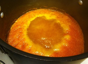 Cooking the marmalade at a low boil