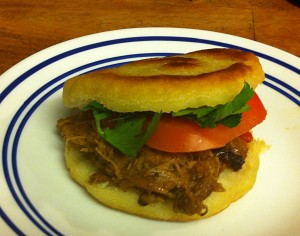 Karl's Venezuelan Arepas Rumberas (corn pockets with pulled pork)