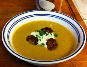 Karl's Curried Leek and Lentil Soup with Karl's Chicken Tandoori Meatballs