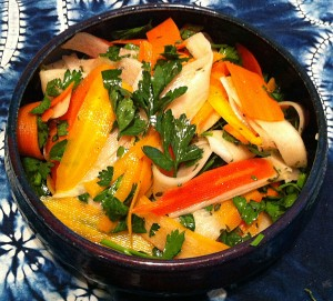 Karl's Heirloom Carrot and Diakon Ribbon Salad