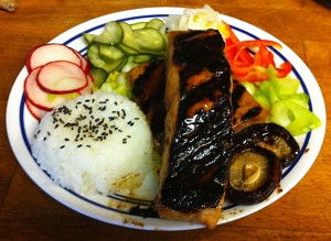 Karl's Salmon and Tofu Teriyaki with Six Pickles