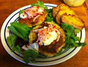Karl's Crab Cakes with Aioli and Champaign Pickled Radishes
