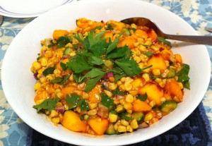 Karl's Moroccan Barbecued Corn and Peach Salad