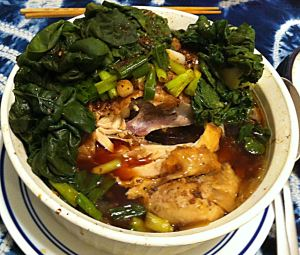 Karl's Chinese Steamed Ginger Chicken hiding under all those greens