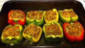 Karl's Lamb and Apricot Kofta Stuffed Bell Peppers