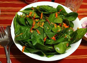 Karl's Lightly Pickled Carrots and Spinach Salad