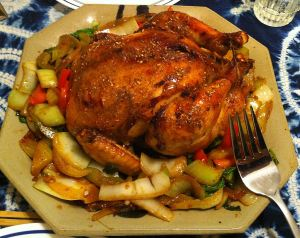Karl's Sichuan Roasted Chicken with Honey Lemon Glaze and Stir-fried Vegetables
