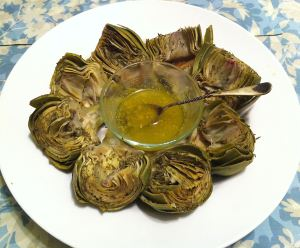 Karl's Steamed Artichokes with Tarragon Caper Butter Sauce