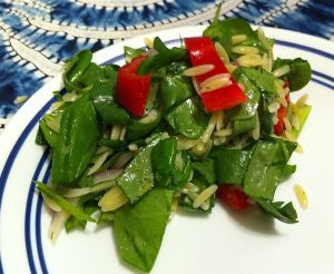 Karl's Greek Spanakorzo Salad (Spinach and Pasta Salad)