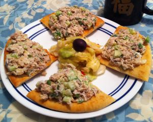 Karl's Open-faced Chicken Salad Sandwiches on Pita Bread