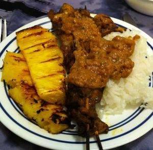 Karl's Chicken Satay with Pineapple Peanut Sauce