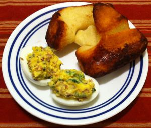 Karl's Fried Green Onion and Ham Deviled Eggs