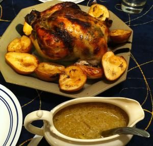 Karl's Roasted Chicken with Sage and Pears
