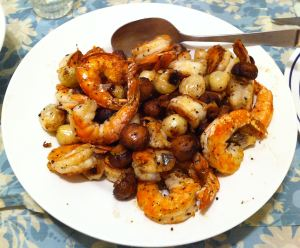 Karl's Szechuan Salt & Pepper Shrimp with Grilled Pearl Onions and Mushrooms
