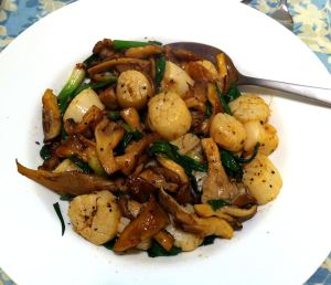 Karl's Szechuan Salt & Pepper Scallops with Oyster Mushrooms