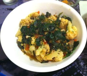 Karl's Goan Cauliflower and Spinach
