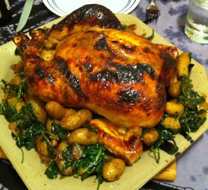 Karl's Lemon Chicken Habanero with Sautéed Spinach and Fingerling Potatoes