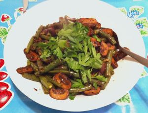 Karl's Brandied Mushrooms and Green Beans