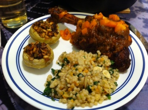 Karl's Lamb Shanks with Israeli Coucous and Stuffed Artichokes