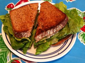 Jan's Hot Peanut Butter and Lettuce Sandwich
