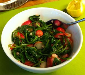 Karl's Sautéed Red Radishes and Greens