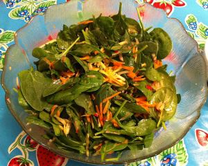 Karl's Carrot and Spinach Salad with Orange Tarragon Dressing