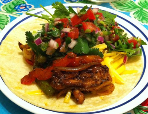 Karl's Leftover Chicken Fajita Tacos with Toppings