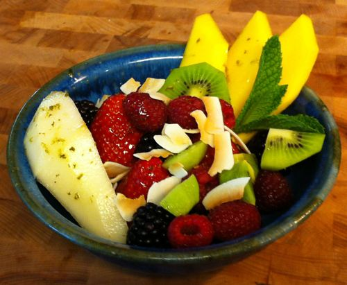 Karl's Fruit Salad with Honey Lime Mint Sauce