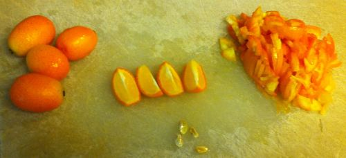 Steps in preparing the kumquats