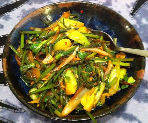 Karl's Stir-fry with Bok Choi and Chive Stem