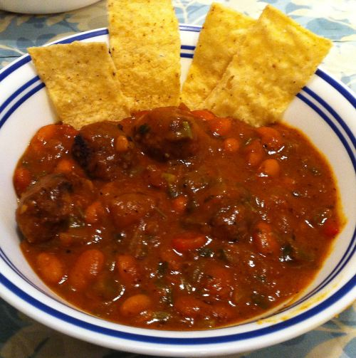 Karl's Weekend Beef Meatball Chili
