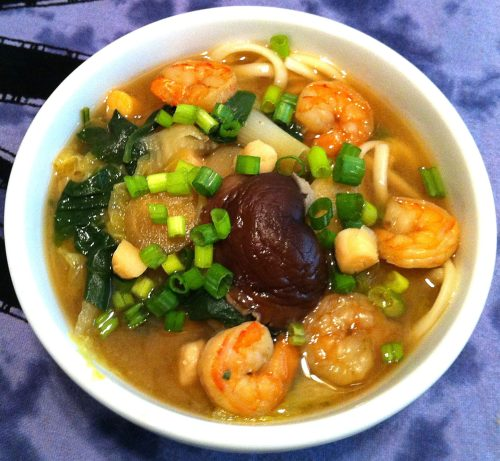 Karl's Shrimp and Scallop Udon Soup