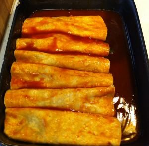 Karl's Poblano and Bean Enchiladas assembly 5